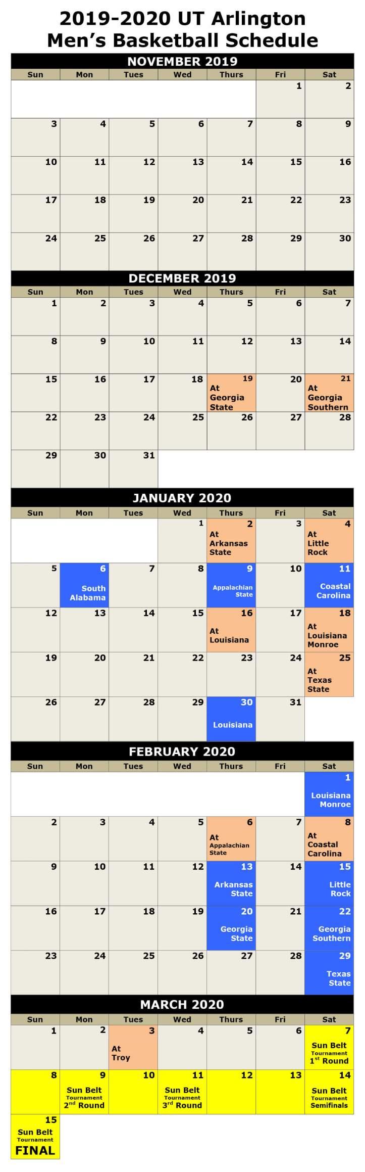 2019-2020 UT Arlington Men's Basketball Schedule_small